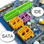 Разъемы SATA и IDE интерфейсов на материнской плате